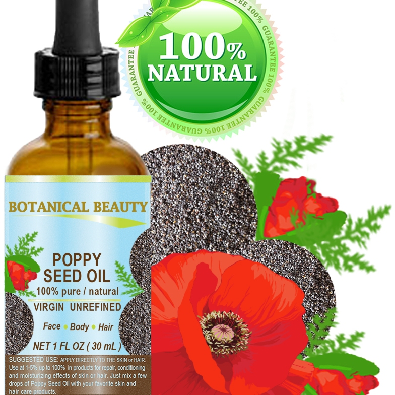 Poppy Seed Oil by Botanical Beauty Glass Jar